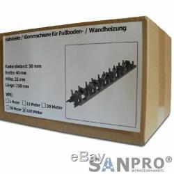 100 m Halteleiste / Klemmschiene Made in Germany Fußbodenheizung Wandheizung