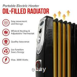 13 Fin 3kw Portable Electric Oil Filled Radiator Heater 3000w Home Office 3 Heat