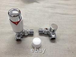 15mm Corner Thermostatic Radiator Valve And Lockshield Valve Chrome / White Trv