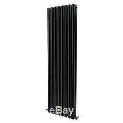 1600x472mm Vertical Oval Column Designer Radiator Black Central Heating Rads