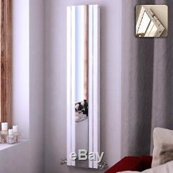 1800 x 381 White Vertical Double Panel Column With Mirror Designer Radiator Rad
