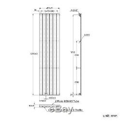 1800 x 452mm White Vertical Flat Single Panel Bathroom Central Heated Radiator