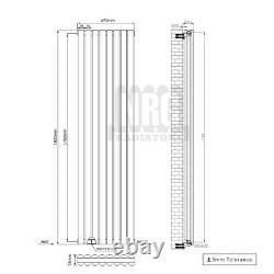 1800mm Vertical Designer Radiator Oval Column White Anthracite Tall Upright Rads