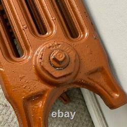 2 Vintage Reclaimed Restored Cast Iron Radiators. Burnt Orange. Pressure-tested