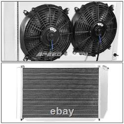 3-Row Aluminum Radiator+Slim Cooling Black Fans+Shroud for 79-93 Ford Mustang MT