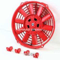3-row Aluminum Radiator+2x 9 Fan Red For 82-02 Chevy S10/blazer/corvette V8