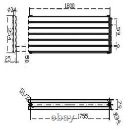 354 x 1800 mm Anthracite Horizontal Double Panel Column Designer Radiator Rad