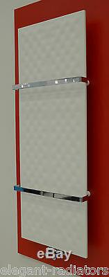 450mm Wide 1200mm High White Designer Heated Towel Rail Radiator Slim Bathroom