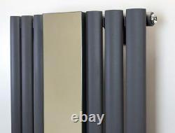 499mm(w) x 1800mm(h) Brecon Mirror Anthracite Vertical Mirror Radiator 3953BTU
