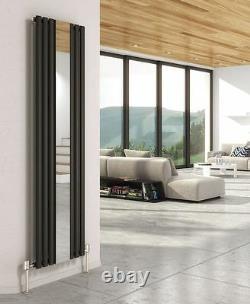 499mm(w) x 1800mm(h) Brecon Mirror Vertical Black Designer Radiator 3953 BTUs