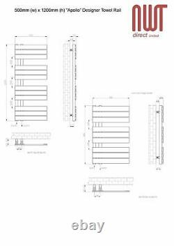 500mm(w) x 1200mm(h) Apollo Anthracite Heated Towel Rail Radiator 3323 BTUs