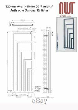 520mm(w) x 1460mm(h) Ramona Anthracite Vertical Designer Radiator 3057 BTUs