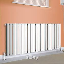 600x1428mm Horizontal Flat Panel Column Designer Central Heating Radiator Chrome