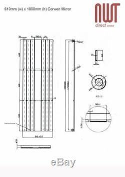 610mm(w) x 1800mm(h) Corwen Mirror Chrome Designer Vertical Radiator 3558 BTU