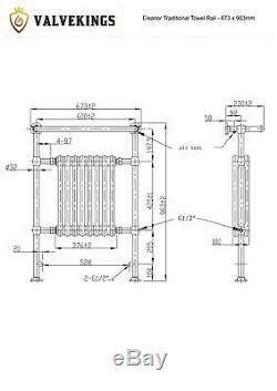 673mm x 963mm Eleanor Traditional Copper Heated Towel Rail Radiator 3410 BTUs