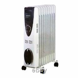 7 Fin 1500W 240V Portable Electric Oil Filled Radiator Electrical Caravan Heater