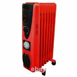 9 Fin 2000w Electric OIL FILLED RADIATOR Heater With Timer & Thermostat RED