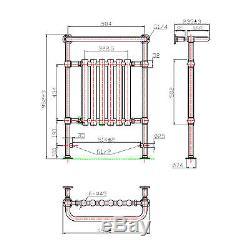 952x659mm Traditional Bathroom Central Heated Towel Rail Chrome Radiator RT03
