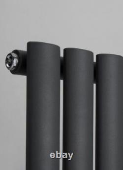 960mm(w) x 500mm(h) Brecon Black Horizontal Radiator 2687BTU Oval Tube