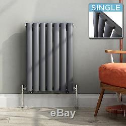 ANTHRACITE HORIZONTAL RADIATORS Designer Oval Column Panel Central Heating UK