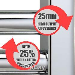 AURA 25 Curved Chrome Heated Towel Rail / Radiator / Warmer For CENTRAL HEATING