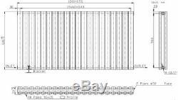 Anthracite Designer Radiator Horizontal Oval Column Double Panel Rad 600x1200mm