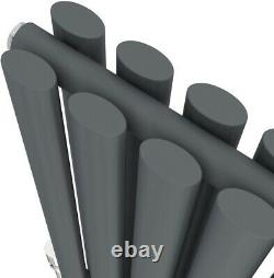 Anthracite Designer Radiator Horizontal Oval Column Double Panel Rad 600x780mm