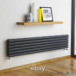 Anthracite Designer Radiator Horizontal Vertical Double Panel, 1800mm x 354mm