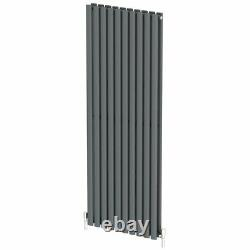 Anthracite Designer Radiator Vertical Oval Column Double Panel Rad 1600x600mm