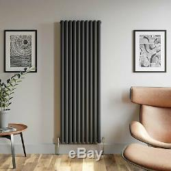 Anthracite Designer Radiator Vertical Oval Column Double Panel Rad 1800x600mm