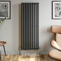 Anthracite Designer Radiator Vertical Oval Column Single Panel Rad 1600x600mm