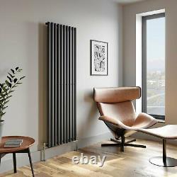 Anthracite Designer Radiator Vertical Oval Column Single Panel Rad 1800x600mm