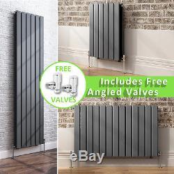 Anthracite Flat Panel Designer Radiators Central Heating + Free Angled Valves
