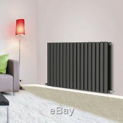 Anthracite Horizontal Designer Radiator Oval Column Central Heating 600x1003mm