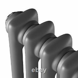 Anthracite Horizontal Vertical Traditional Column Radiator with Angled Valves