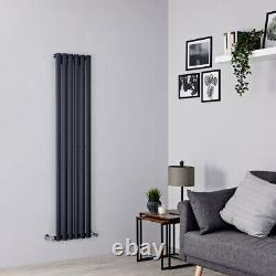 Anthracite Oval Column Vertical Designer Radiator 1600 x 354mm Single Panel