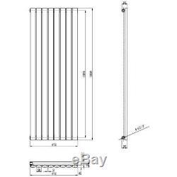 Anthracite Oval Column Vertical Designer Radiator 1600 x 472mm Single Panel