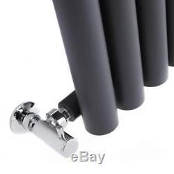 Anthracite Vertical Round Tube Designer Central Heating Radiator 1600 x 354 mm