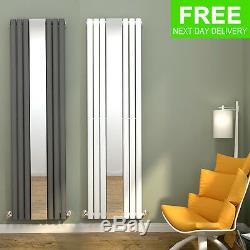 Anthracite/White Vertical Designer Radiator Mirrored Single Oval Column Rads