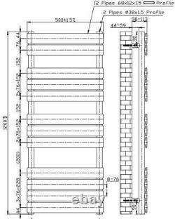 Bathroom 1200x500mm Heated Towel Rail Radiator Central Heating Panel Anthracite