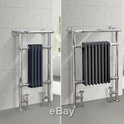 Bathroom Heated Towel Rail Traditional Column Radiator Anthracite Chrome