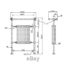 Bathroom Traditional Towel Rail Radiator White Chrome Column Heated 963x673mm