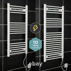 Bathroom White Electric Ladder Heated Towel Rail Thermostatic Radiator