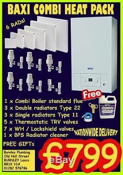 Baxi 224 Combi Boiler Flue Kit Radiators Heat Pack Central Heating System Valves