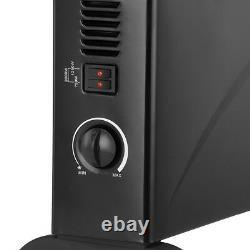Black 2kW Floor Free Standing Home & Office Convector Radiator Heater