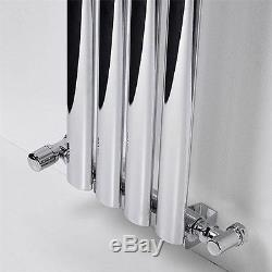 CAESAR Chrome 1800x240 Vertical Oval Designer Radiator Central Heating