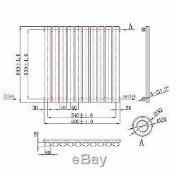 Caesar Chrome Horizontal Oval Designer Radiator Central Heating 600x600
