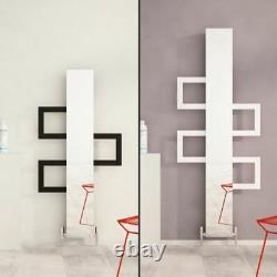 Carisa Mate White & Black Aluminium Designer Vertical Mirror Radiators 3 Sizes