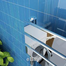 Chrome Bathroom Flat Panel Ladder Designer Heated Towel Radiator Straight Rail