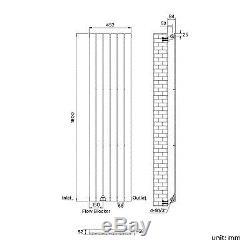Chrome Flat Panel Vertical Designer Single Radiator 1800 x 452mm Central Heating